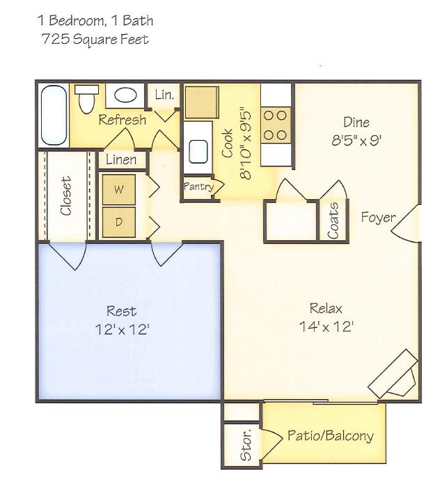 1 Bedroom 580 725 1 1 View